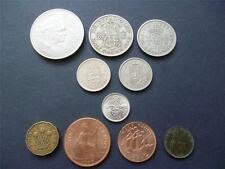 Mixed set of 10 English coins Crown down to Farthing inc shillings, sixpence etc