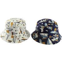 Doble Lado Blanco Marino Velero Pescador Sombrero Cubo Sombreros Mujeres Ho B4Z2