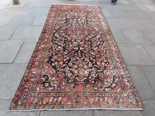 Vintage Hand Made Traditional Oriental Wool Blue Pink Long Large Rug 325x123cm