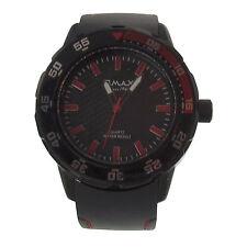 Herren Armbanduhr Omax Design Analog Quarz Uhr Ziffern Silikon Armband schwarz