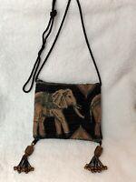 "Boho Elephant Multi-color Purse, Glass Beaded Tassels, Bag 6.5""x7.5"", Adj. Strap"