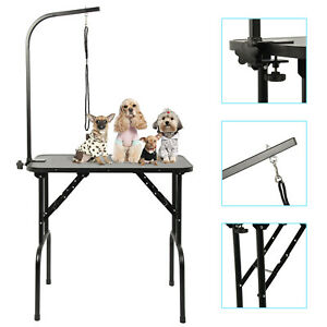 Black Adjustable with Arm Noose & Folding Legs Portable Pet Dog Grooming Table