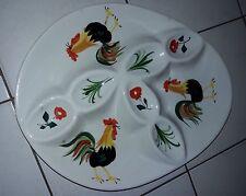 ancien plat grande assiette presentoir a oeuf poule coq