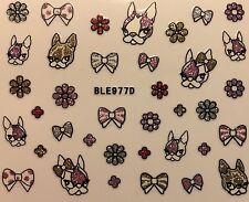Nail Art 3D Decal Stickers Dogs Puppies Bows Flowers BLE977D