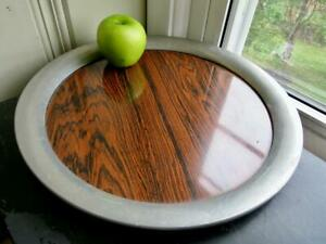 """Vintage 1950s Mid-Century Wood Grain Formica 14"""" Round Serving Tray Pewter Rim"""
