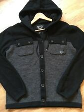 Mens Police Wool Jacket/cardigan Size L Vgc Charcoal/black