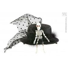 Skeleton Mini Black Top Hat Halloween Fancy Dress Costume Accessory