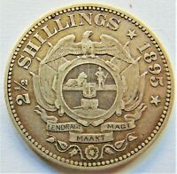 1895 ZAR SOUTH AFRICA, Kruger silver 2 1/2 Shillings grading About VERY FINE.