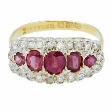 Vintage 18Carat Yellow Gold Ruby & Diamond Cluster Ring (Size N 1/2) 18x9mm