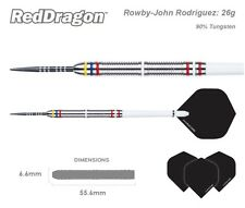 Red Dragon Rowby-John Rodriguez 90% Tungsten 26g Steel Tip Darts