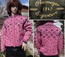 OBERMEYER ski sweater wool zip cardigan baselayer pink snowflake print womens MD