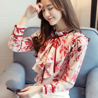 Fashion Korean Women Ladies Ruffled Collar Long Sleeve Chiffon Shirt Blouse Tops