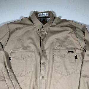 NWT Workrite Mens Tan FR Flame Resistant Button Up Work Shirt size 2XL