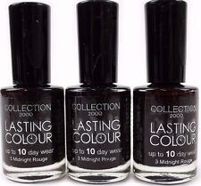 3 x Collection 2000 Lasting Colour PURPLE Nail Varnish Polish Gloss Cosmetics