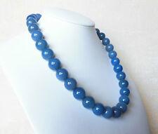 Edelsteinkette Blau Achat Collier 14 mm Perlen 45cm Halskette
