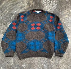 VTG Yves Saint Laurent Mens Brown/Orange/Blue  Wool Knit Sweater Sz L Rare YSL