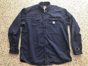 Carhartt FR Mens XL-Tall FRS160-DNY Long Sleeve Shirt Navy Blue Fire Resistant