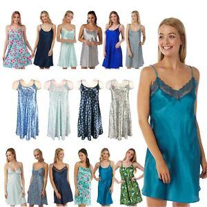 Ladies Navy Aqua Blue Turquoise Satin Chemise Nightie Nightdress PLUS SIZE 8-34!