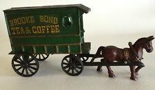 Vintage Cast Iron Green Toy Brooke Bond Tea/Coffee Horse Drawn Wagon/Cart & Man