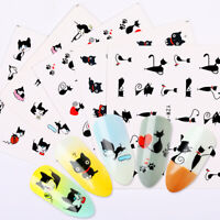 5 Sheets Nail Water Decals Little Black Cat Nail Art Transfer Stickers Decors