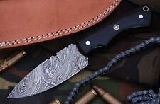 Custom Fire Twist Damascus Steel Drop Point Hunting Knife A07