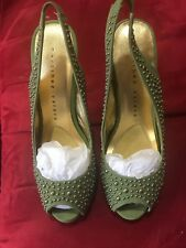 Martinez Valero Oceans, Women's leather studded Khaki Sling back, Size 7