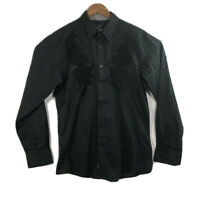 Roar Men's Size L Embroidered Long Sleeve Button Up Black Shirt