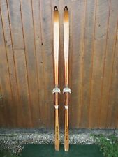 """OLD Wooden Snow Skis 73"""" Long Has LIGHT BROWN Finish LAMPINEN Great Decorating"""