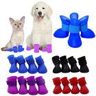 4PCS Dog Puppy Shoes Silicone Waterproof Anti-Slip Skidproof Pet Rain Boots