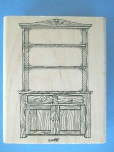 Stampin' Up COUNTRY HUTCH Rubber Stamp 1995 WOODEN CUPBOARD Shelves