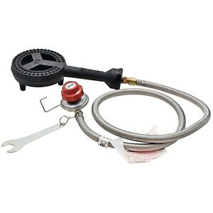 Cast Iron Burner Head Propane Gas Hose with 20 PSI Regulator Grill Adaptor