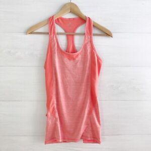 Athleta - Neon orange peach racerback running tank zip pocket, XXS
