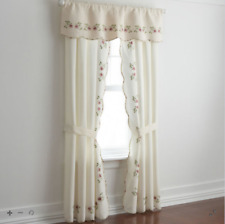 "JCPenney Lynette Curtain Panel Pair 84"" x 63"" (total), Ivory, Floral, Lined"