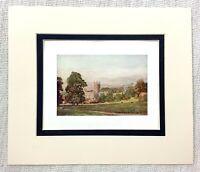 1906 Antico Stampa Wells Cathedral Landscape Vista Vecchio Inglese Architettura