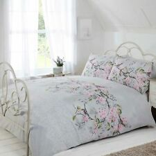 ELOISE FLORAL DOUBLE DUVET COVER SET BIRDS BRANCHES - GREY