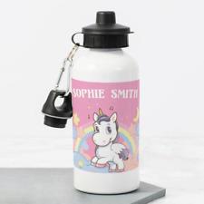 Personalised Baby Unicorn Rainbow Girls 400ml Kids Childrens Water Drinks Bottle