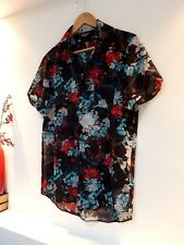 """Ladies Fab Reclaimed Vinage Black Mix Floral See Though Shirt Size M, Pit 20""""Vgc"""