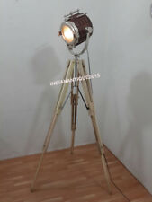 BEST DESIGNER NAUTICAL WOODEN SPOT LIGHT FLOOR LAMP WITH  TEAK TRIPOD STAND