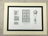 1857 French Architectural Print Aix la chapelle Notre Dame Cathedral Antique