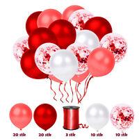 63 tlg. Konfetti Luftballon Party Set Rot Geburtstag Party Hochzeit JGA Ballons