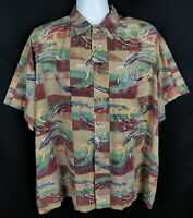 Kahala Hawaiian Inlands Shirt Mens L Short Sleeve Button Front Rayon Geometric