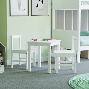 Kids Table Desk Chair Set Workstation Two Seater Playroom Solid Pine Wood White