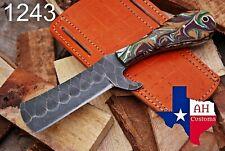 HAND FORGED RAIL ROAD BULL CUTTER/COWBOY KNIFE & RISEN HANDLE AH -1243