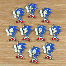 Lot 10pcs Sonic the Hedgehog Metal Enamel Charm Pendants Jewelry Making Crafts