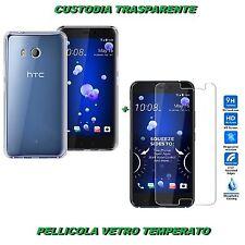 CUSTODIA COVER GOMMA GEL TRASPARENTE PER HTC U11 +PELLICOLA VETRO TEMPERATO
