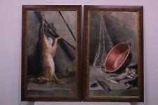 Coppia di dipinti / Quadri / Paintings olio su tela / oil on canvas caccia pesca