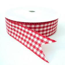 25 metre ROLL 25mm wide RED COUNTRY GINGHAM  RIBBON christmas wrapping