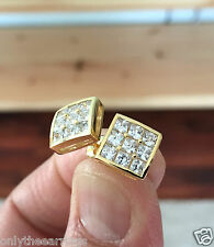Men's Dazzling 10K Gold 0.5ct. Lab Diamond Bezel Square Screw Back Earrings 10mm