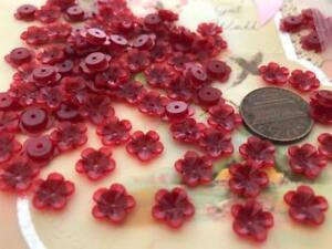 Vintage 9mm Berry Red Plastic Flower Beads 50 Pieces