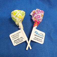 60 Personalized Promotional Lollipop Favor Labels Stickers Glossy Trade Show